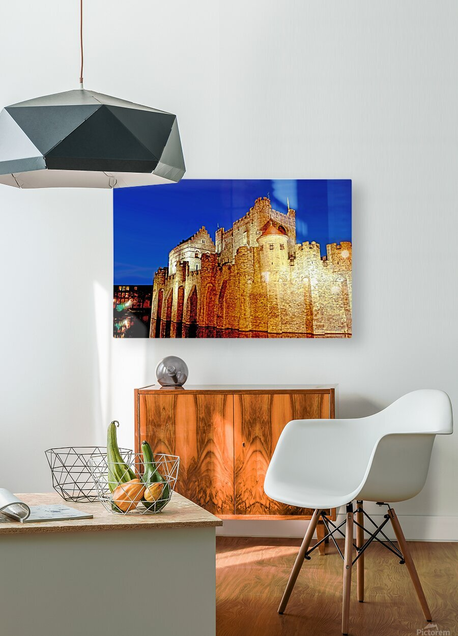 Castle of the Counts Belgium  HD Metal print with Floating Frame on Back