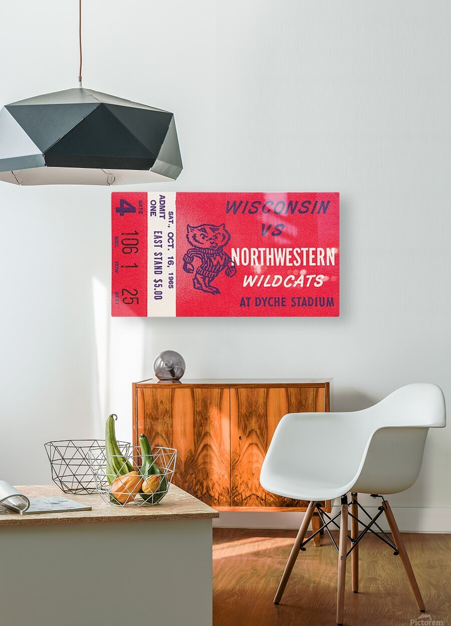 1965 Northwestern vs. Wisconsin  HD Metal print with Floating Frame on Back