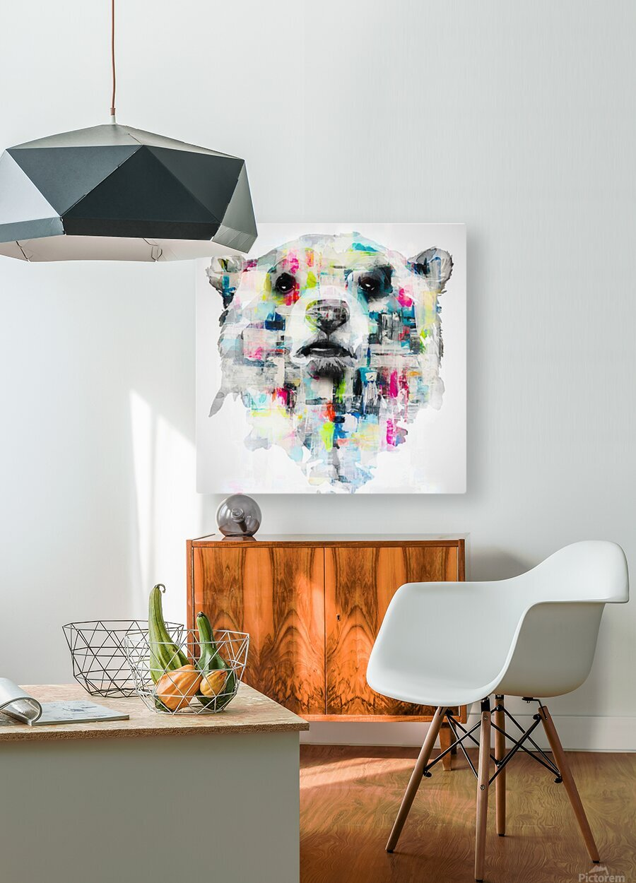 L ours  HD Metal print with Floating Frame on Back