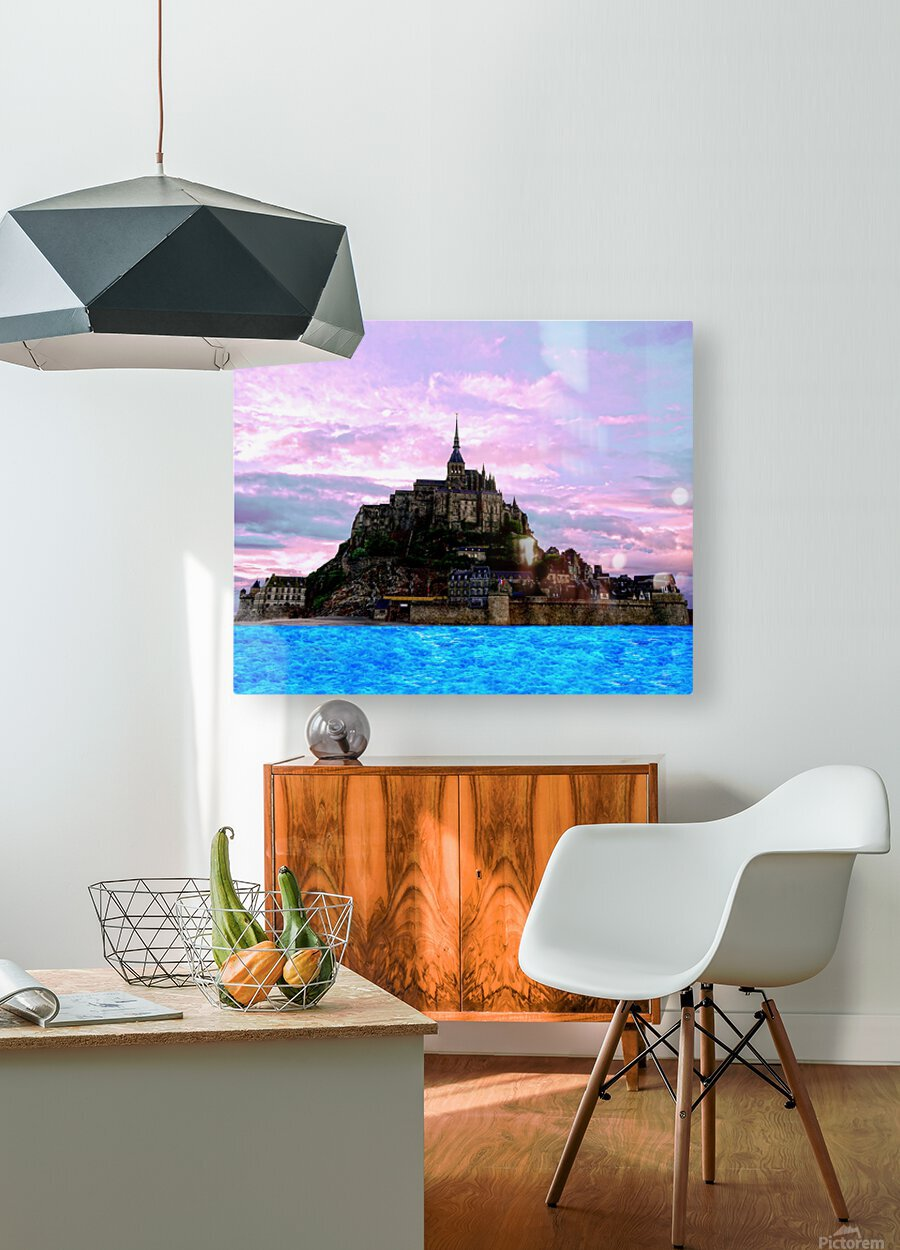 Mont St Michel at Sunset  HD Metal print with Floating Frame on Back