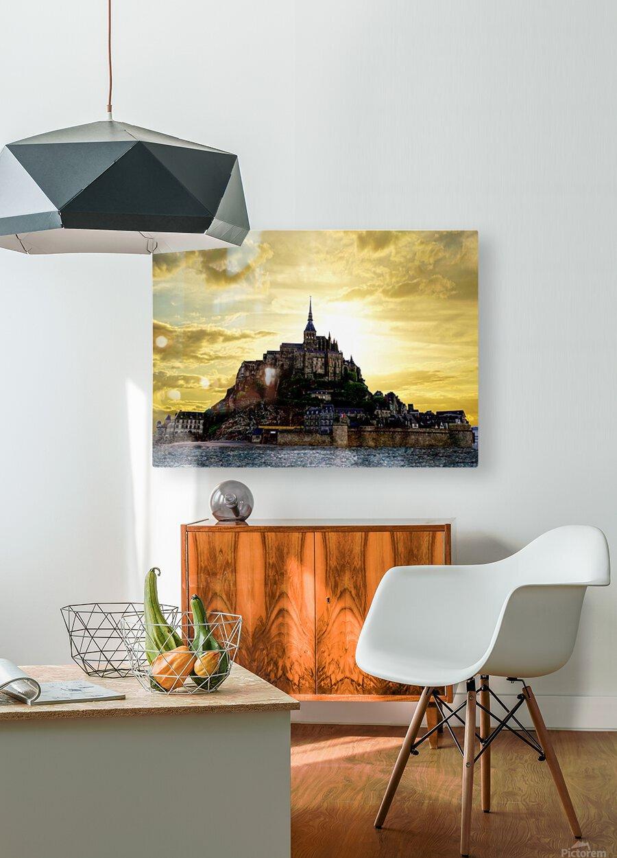 Golden Mont St Michel  HD Metal print with Floating Frame on Back