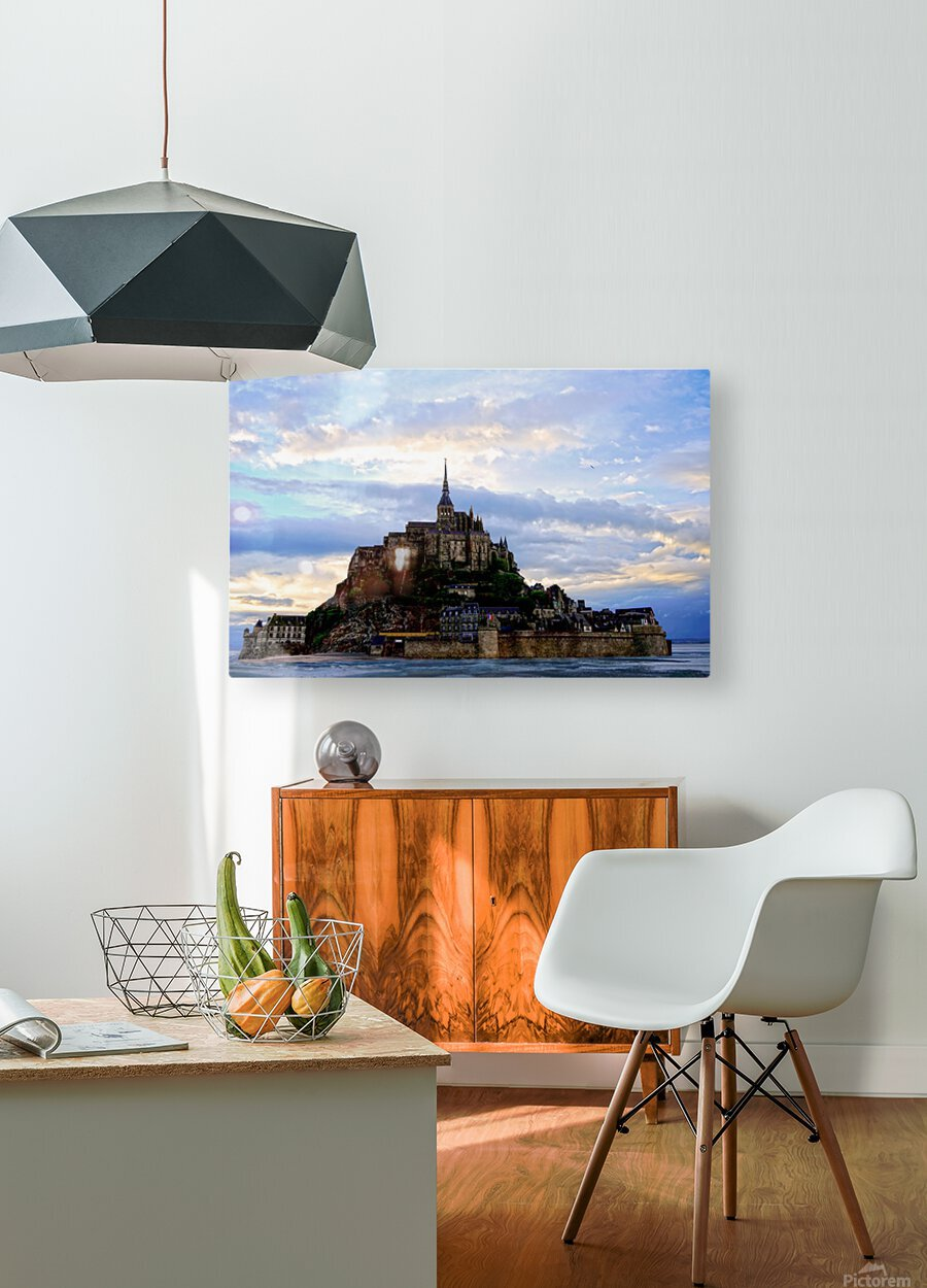 Mont St Michael Rising Tide Panorama  HD Metal print with Floating Frame on Back