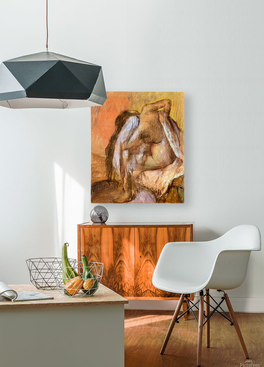 Seated female nude drying neck and back by Degas  HD Metal print with Floating Frame on Back