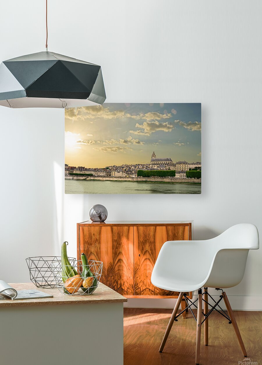 Blois and Cathedrale Saint Louis Across the Loire  HD Metal print with Floating Frame on Back