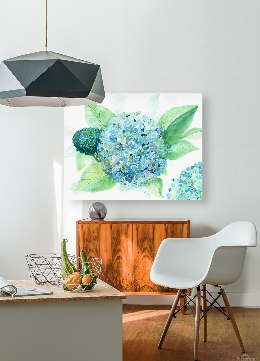 Lovely Blue Hydrangia   HD Metal print with Floating Frame on Back