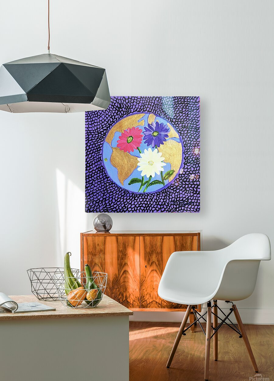 The Earth Daisy Husama Styl-Background  HD Metal print with Floating Frame on Back