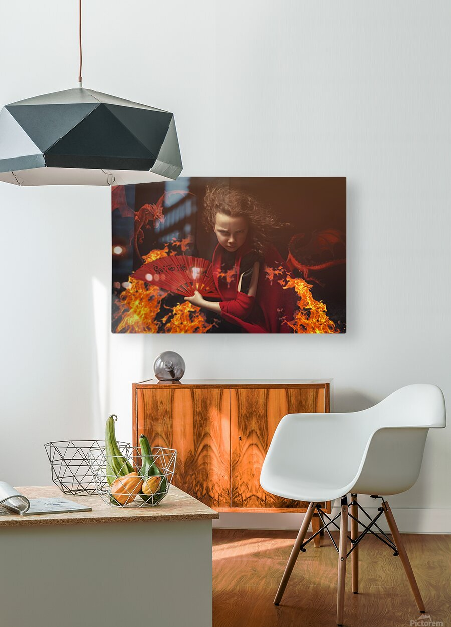 Chi  HD Metal print with Floating Frame on Back