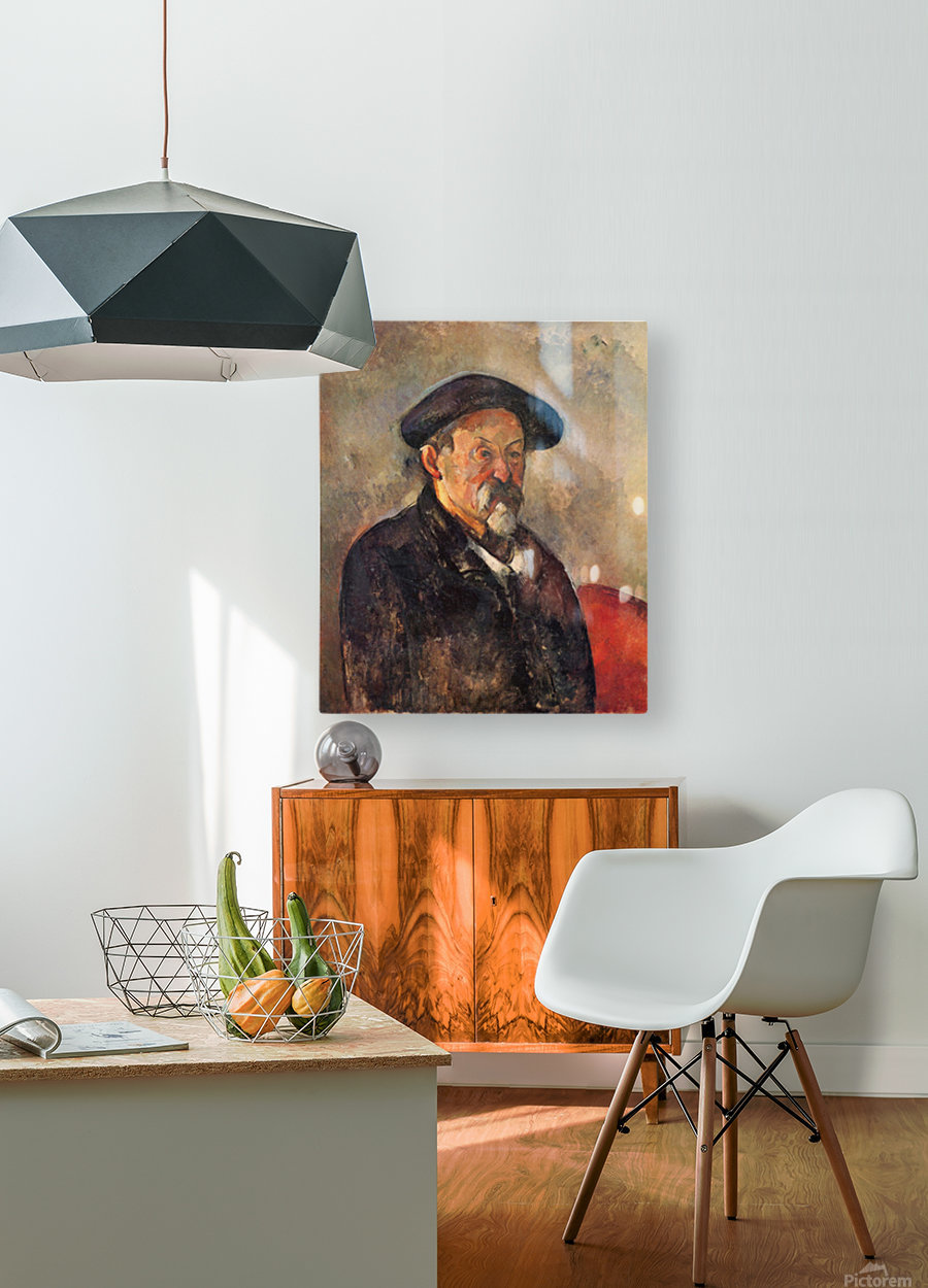 Self Portrait with Beret by Cezanne  HD Metal print with Floating Frame on Back