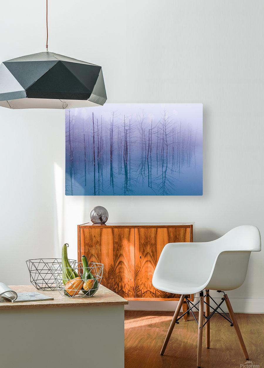 Misty Blue Pond  HD Metal print with Floating Frame on Back