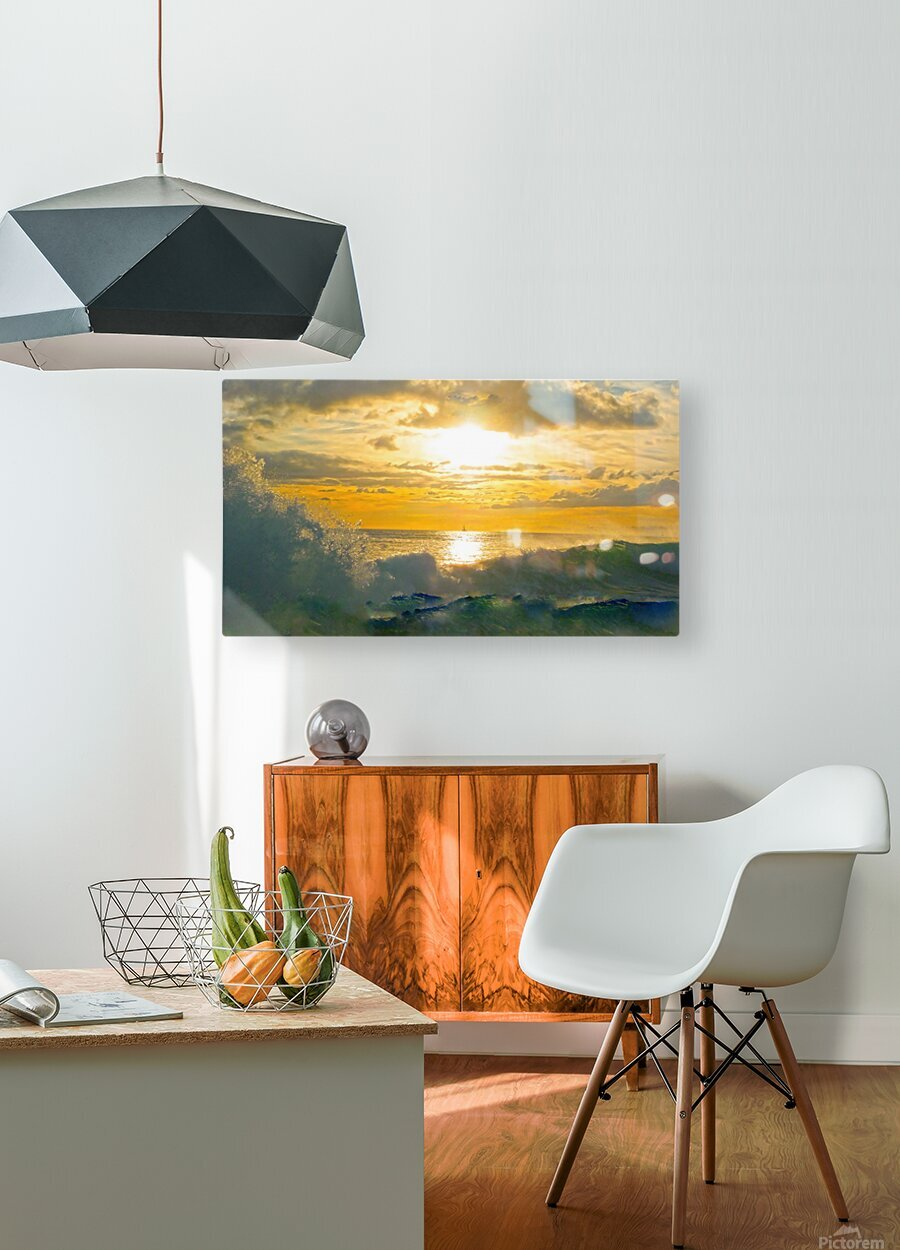 Into the Sunset  HD Metal print with Floating Frame on Back