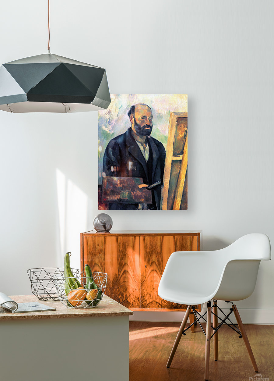 Self-portrait with Pallette by Cezanne  HD Metal print with Floating Frame on Back