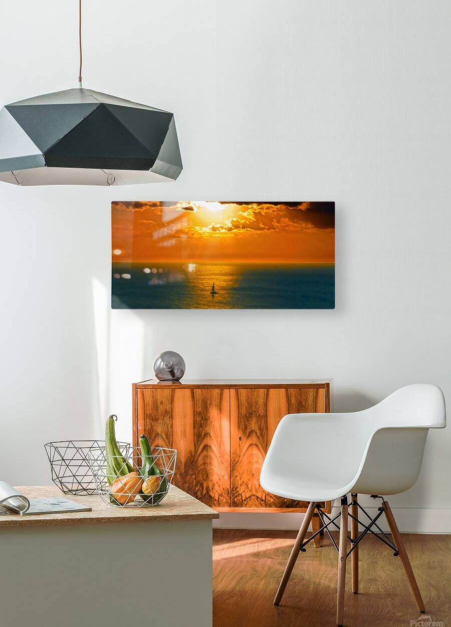 Sailing into the Sunset  HD Metal print with Floating Frame on Back