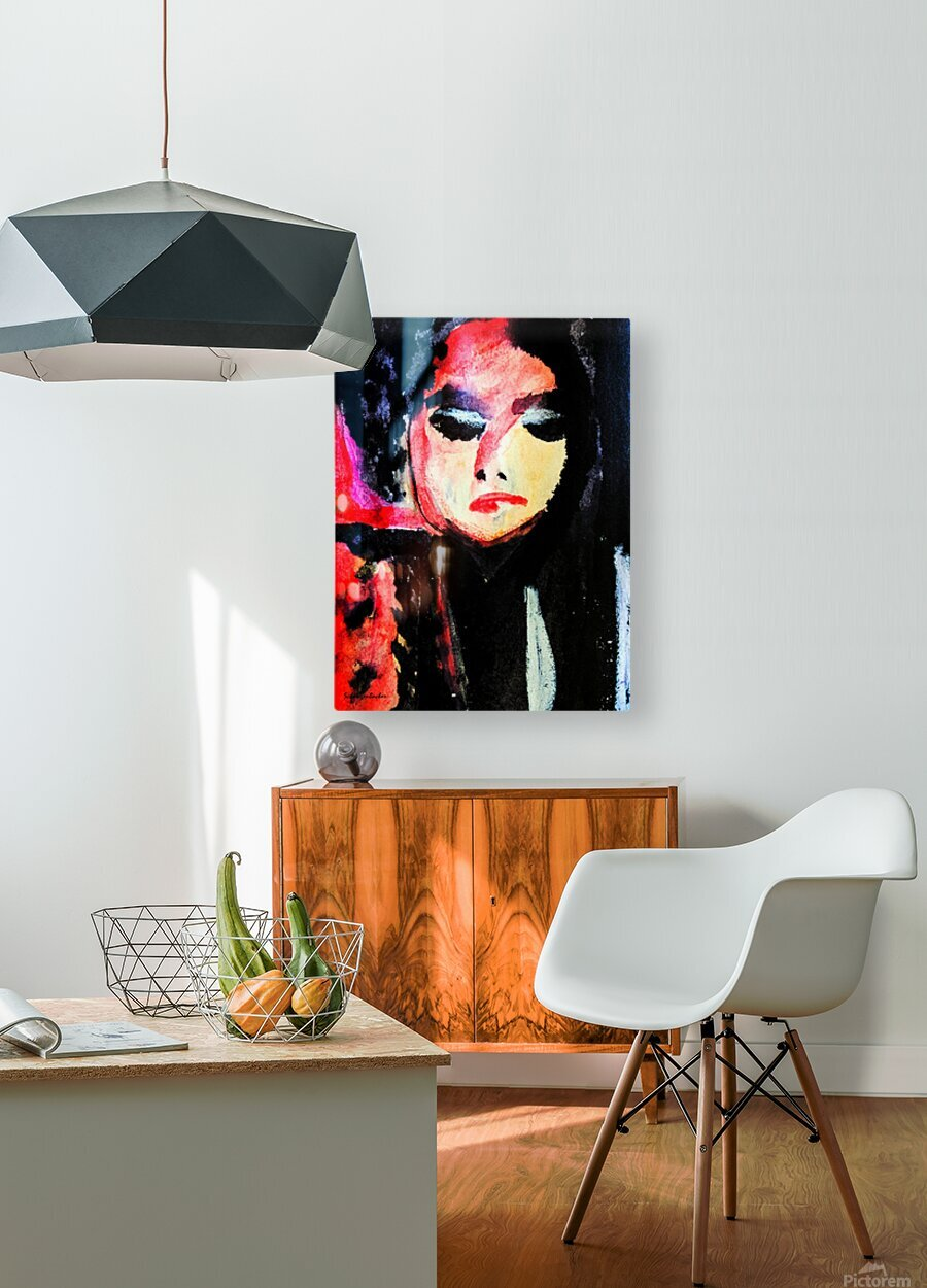 Lady in Black  HD Metal print with Floating Frame on Back