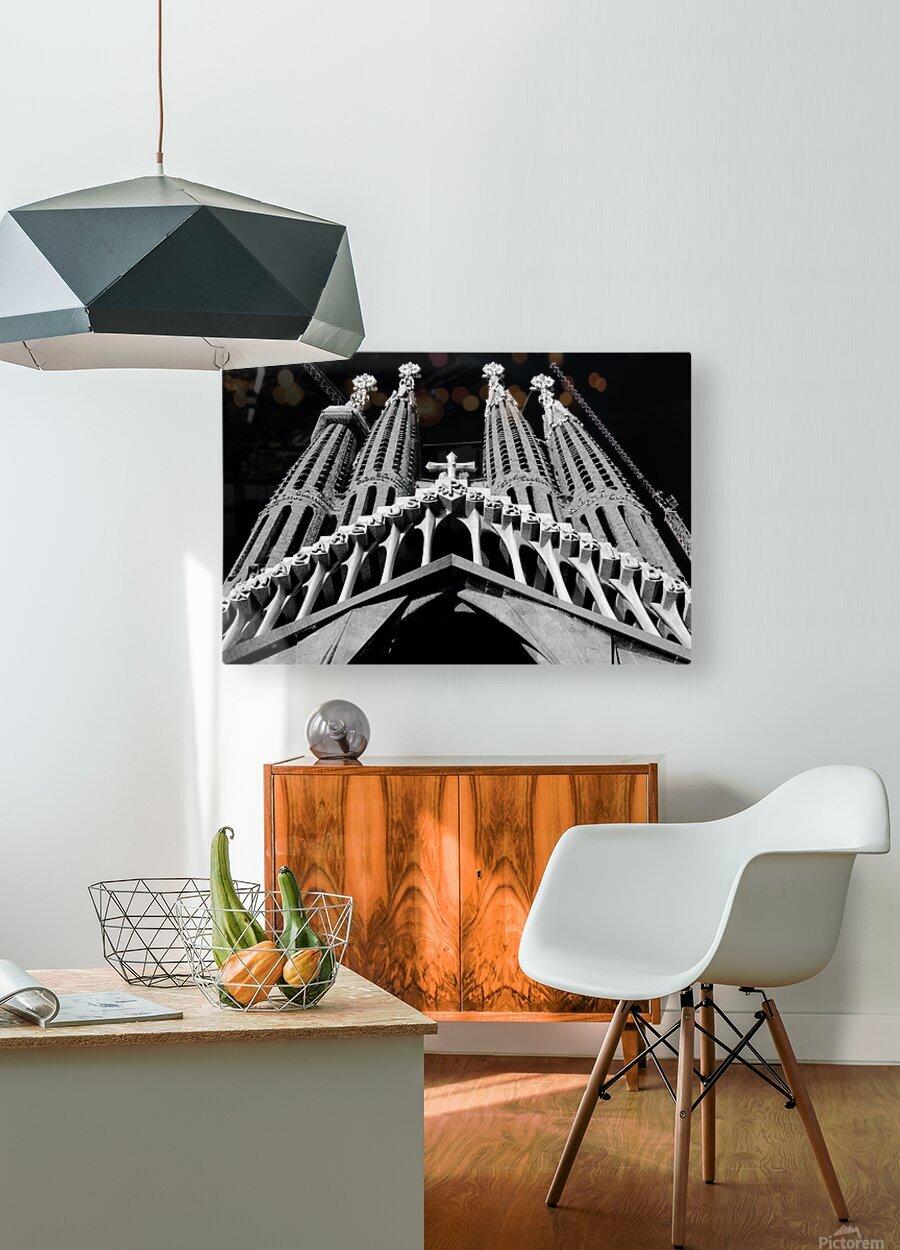 the Cathedral - La Sagrada Familia  Impression métal HD avec cadre flottant sur le dos