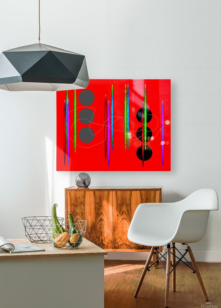 HorizonRedCircles  HD Metal print with Floating Frame on Back