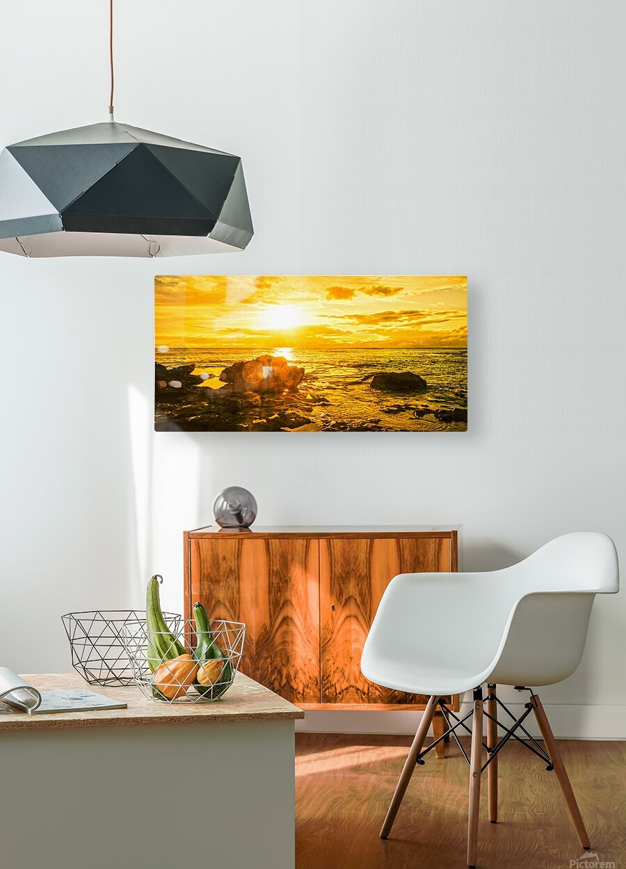 Majestic Sunset Panorama  HD Metal print with Floating Frame on Back