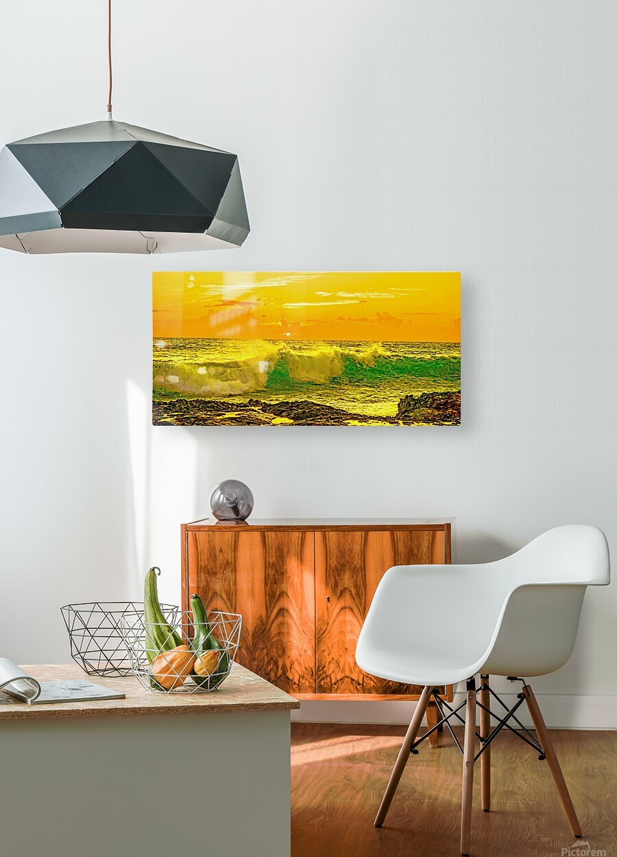 At the Sea Shore Panorama  HD Metal print with Floating Frame on Back