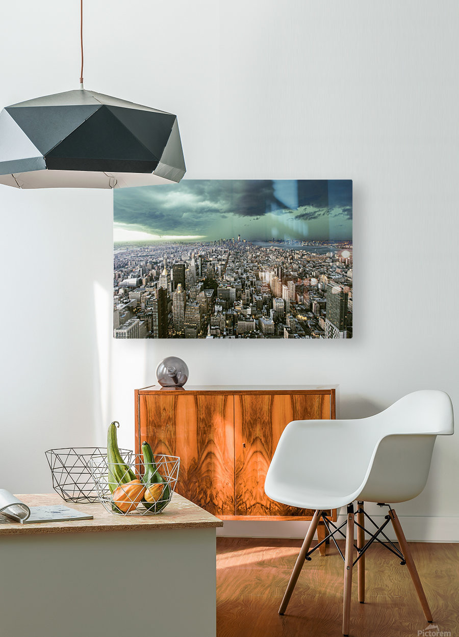 New-York under storm by Pagniez    HD Metal print with Floating Frame on Back