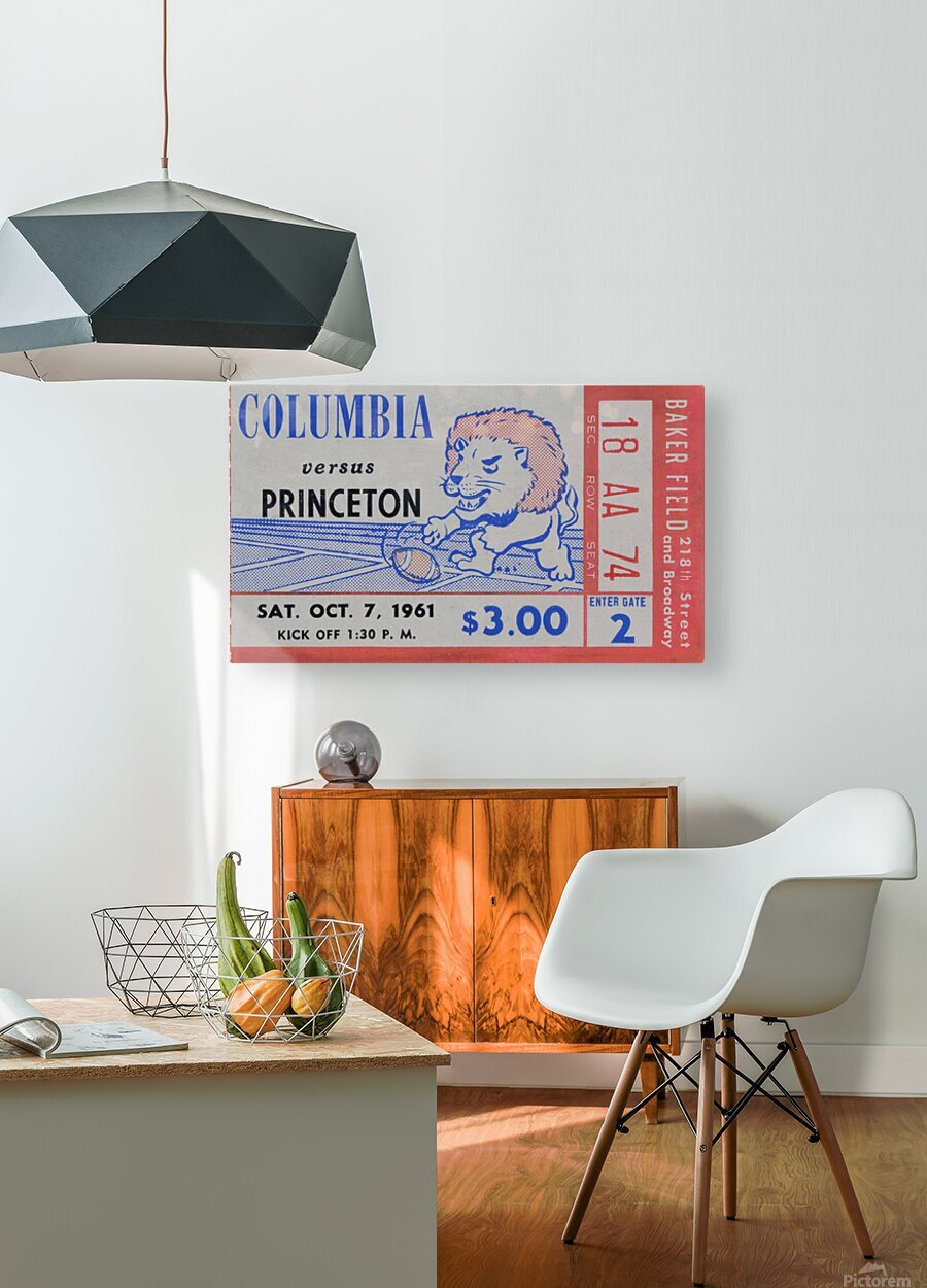 1961 Columbia vs. Princeton Ticket Stub Art  HD Metal print with Floating Frame on Back