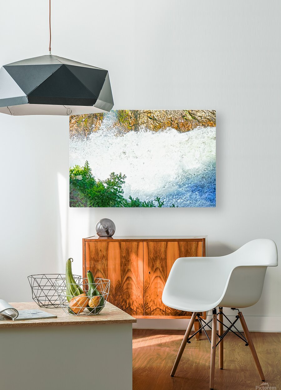 Rocky Mountain Rapids and Waterfalls 1 of 8  HD Metal print with Floating Frame on Back