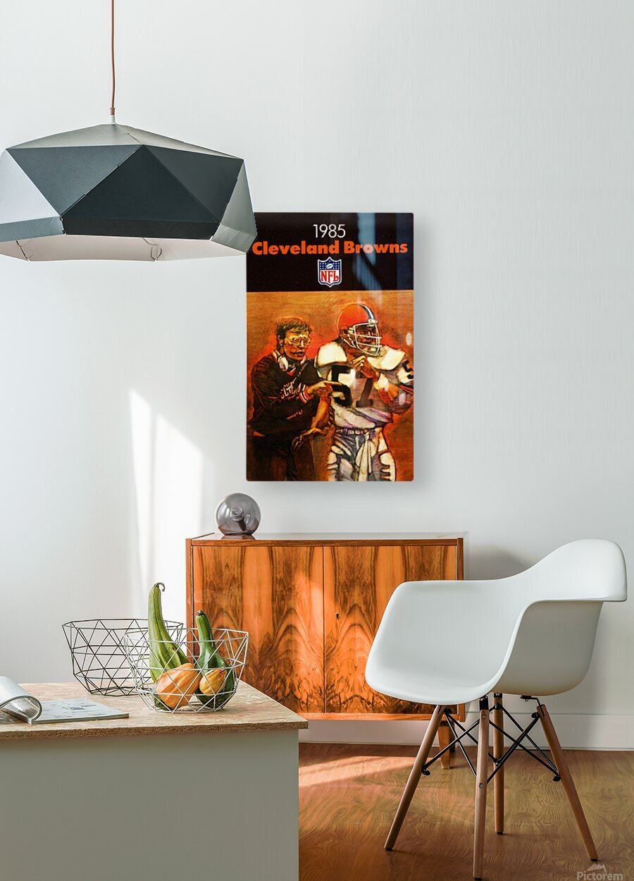 1985 Cleveland Browns Football Poster  HD Metal print with Floating Frame on Back