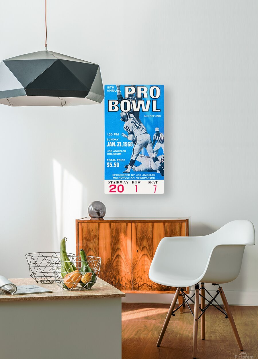 1968 Pro Bowl Football Ticket Stub Print  HD Metal print with Floating Frame on Back