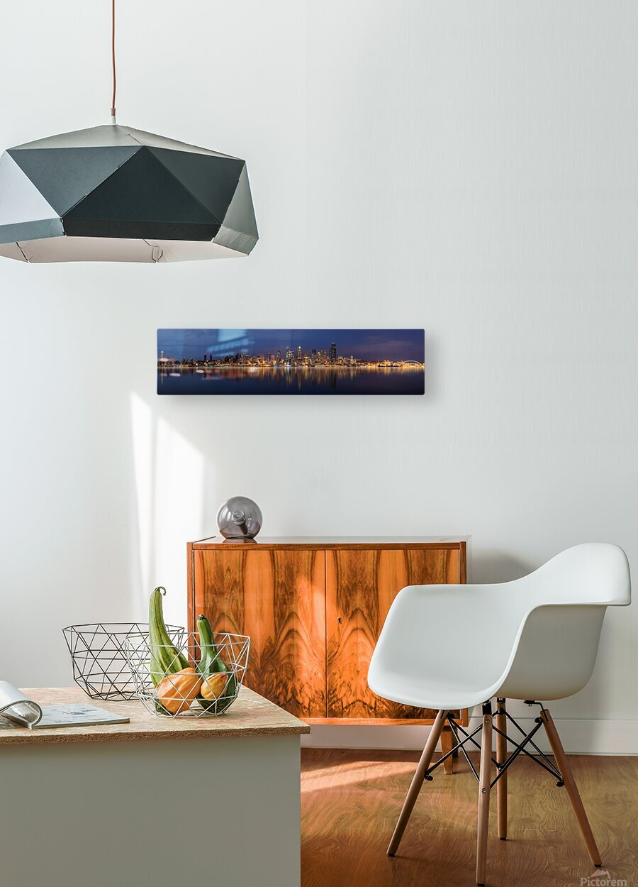 Seattle Skyline Panorama at Night  HD Metal print with Floating Frame on Back