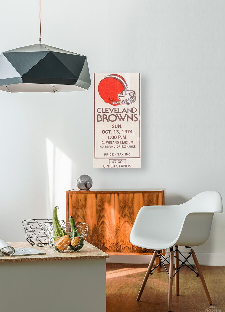 1974 Cleveland Browns Ticket Stub Art  HD Metal print with Floating Frame on Back