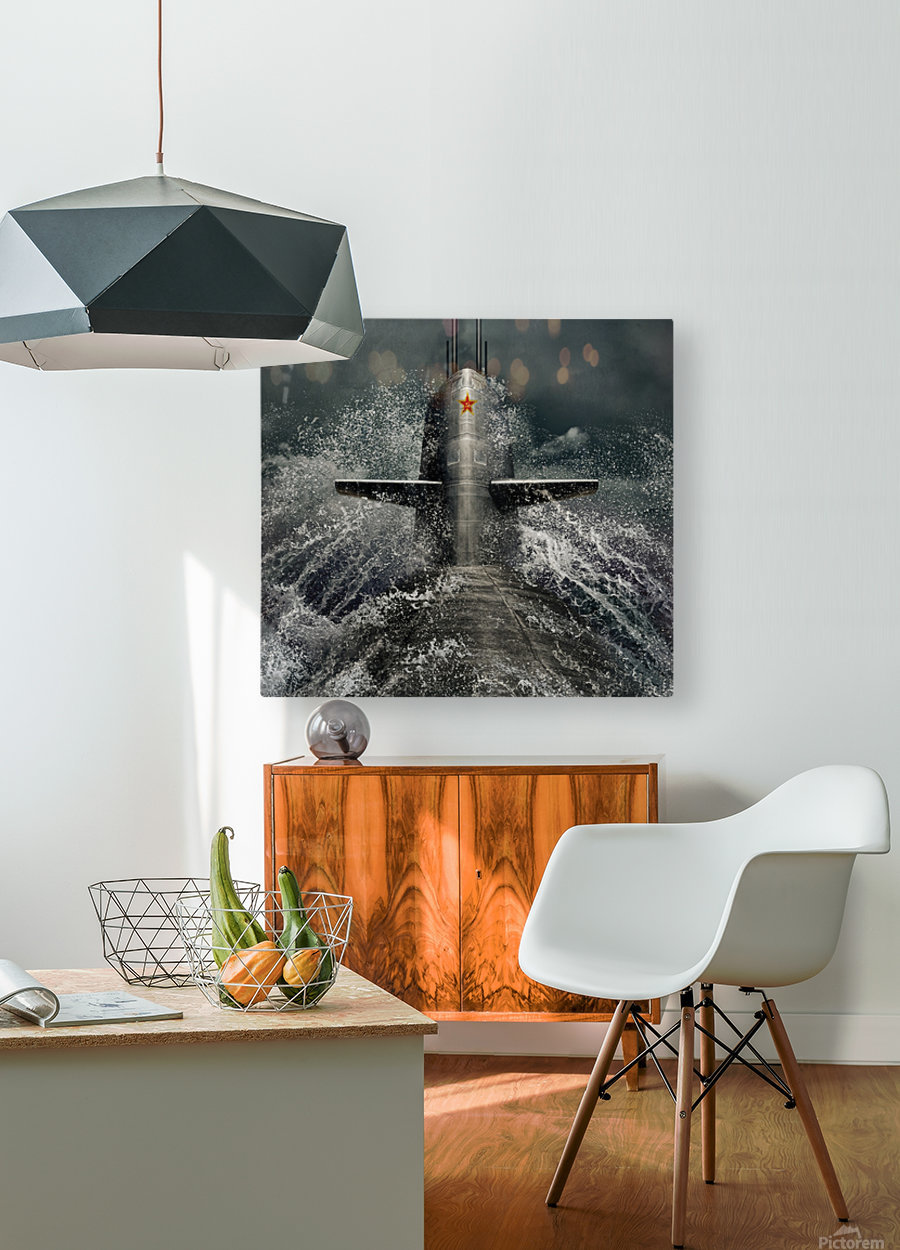 submarine  HD Metal print with Floating Frame on Back