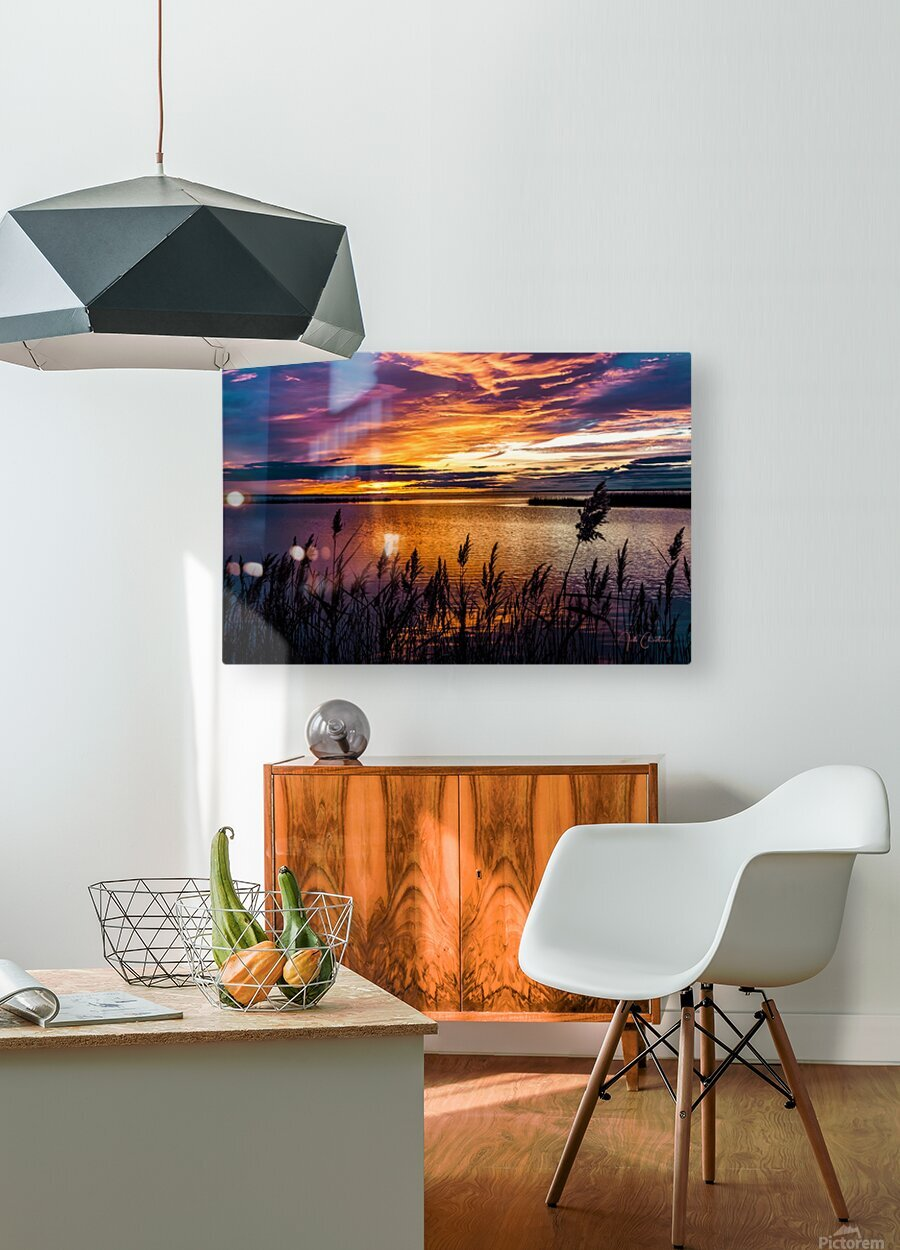 Coucher Soleil Scamandre  HD Metal print with Floating Frame on Back