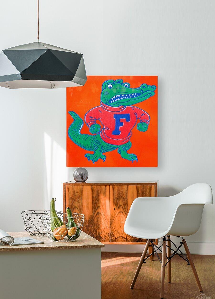Retro Florida Gator Art  HD Metal print with Floating Frame on Back