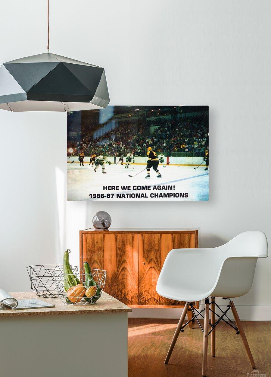 1987 University of North Dakota Hockey  HD Metal print with Floating Frame on Back