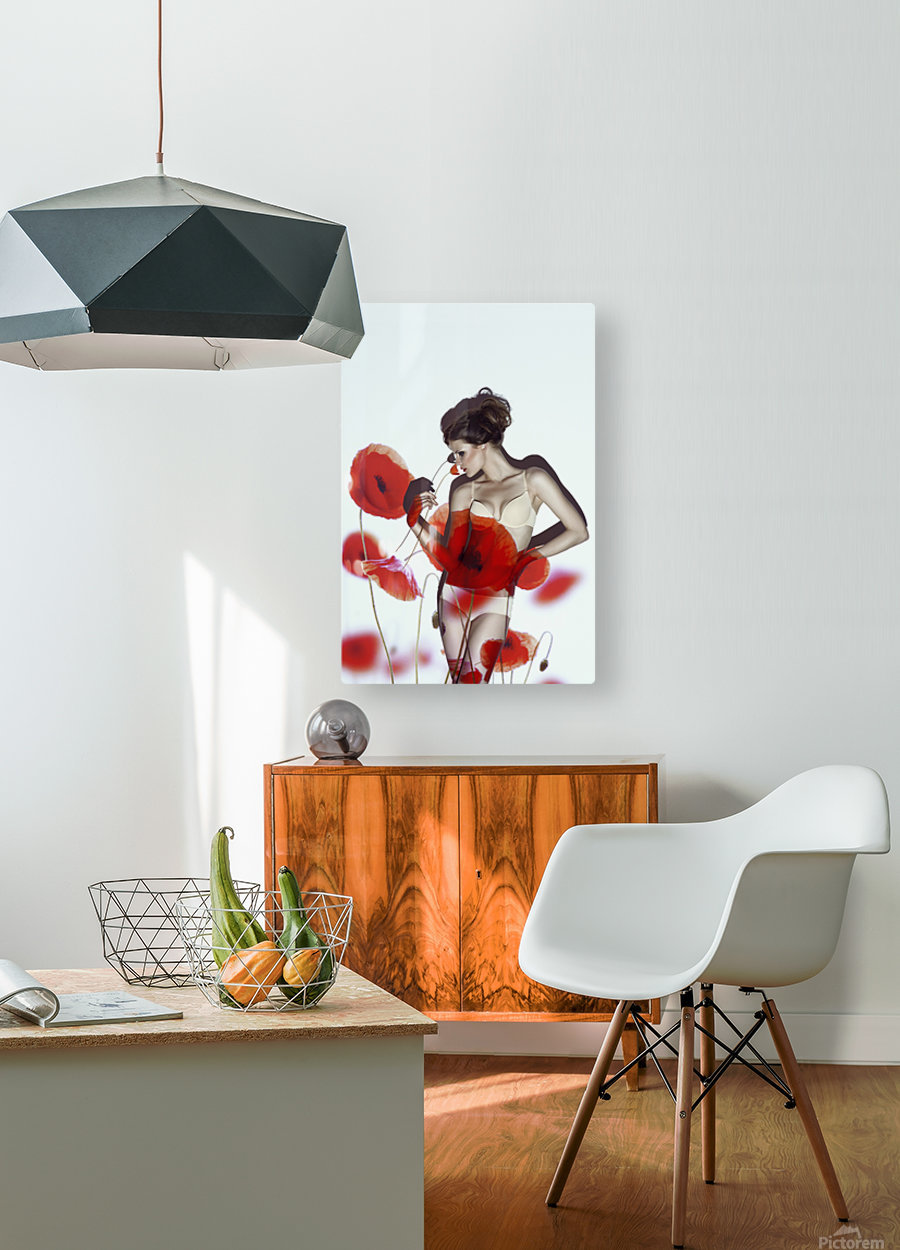 Red  HD Metal print with Floating Frame on Back