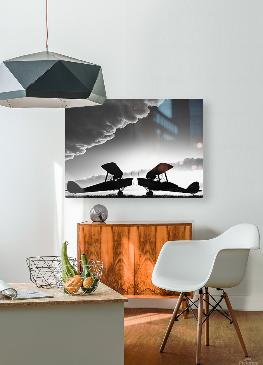 Biplanes Face Off  HD Metal print with Floating Frame on Back