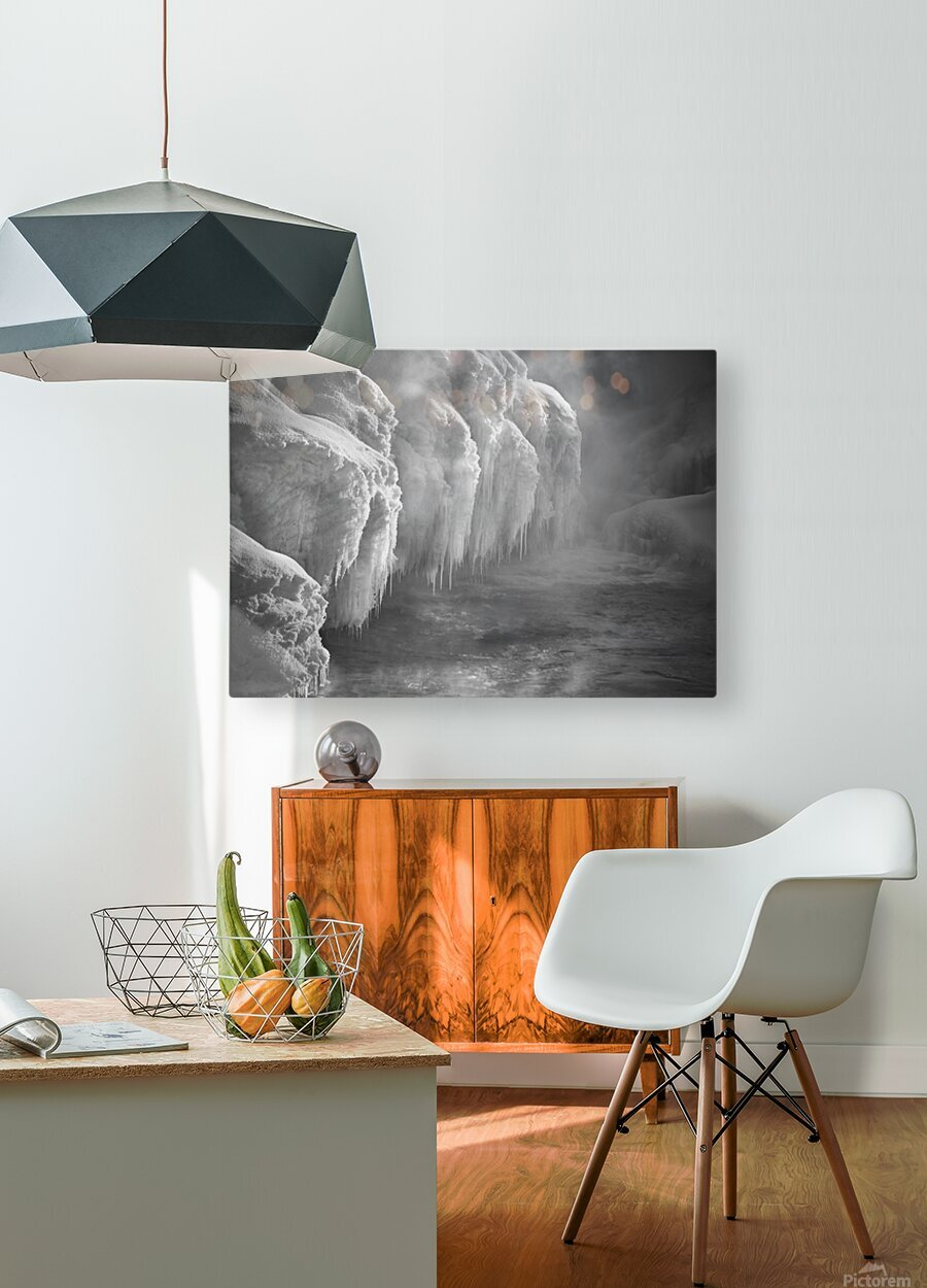 Winter River Smoke  HD Metal print with Floating Frame on Back