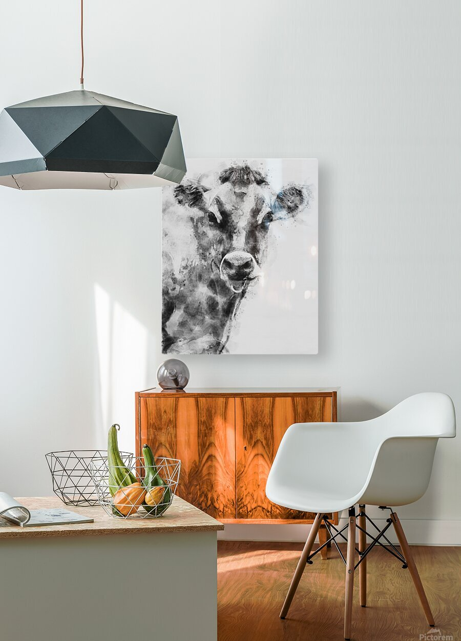 Dairy Cow Black and White  HD Metal print with Floating Frame on Back