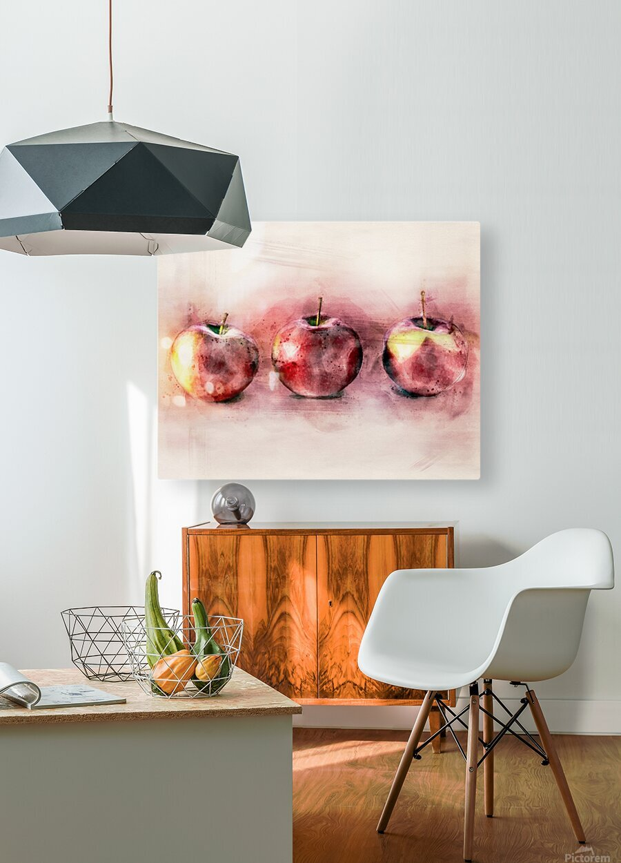 Three Apples  HD Metal print with Floating Frame on Back