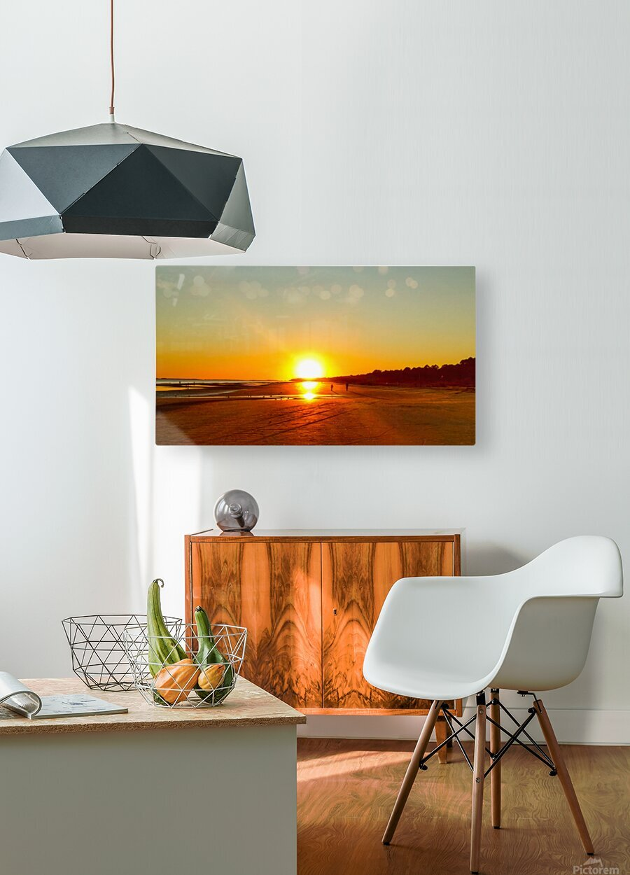 Sunset at the Atlantic Shore  HD Metal print with Floating Frame on Back