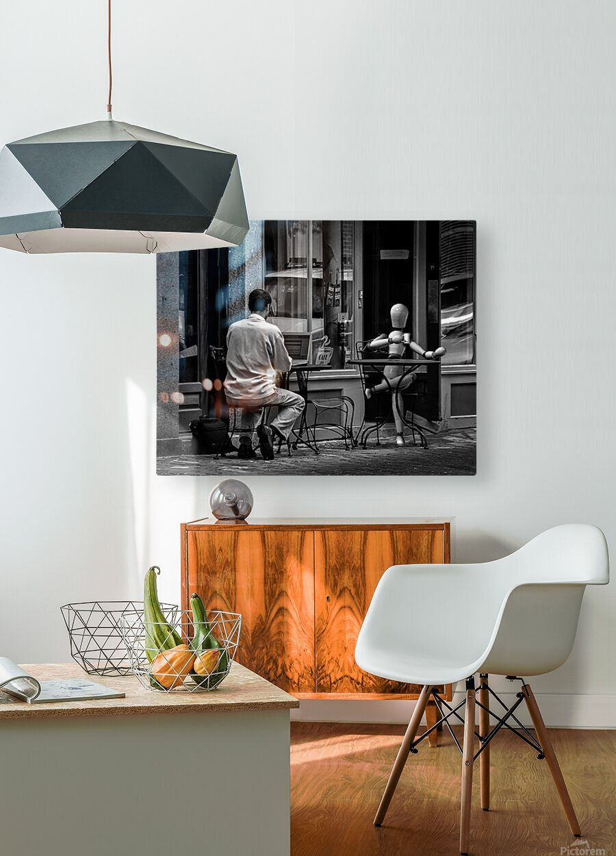 Coffee At The Sidewalk Cafe  HD Metal print with Floating Frame on Back