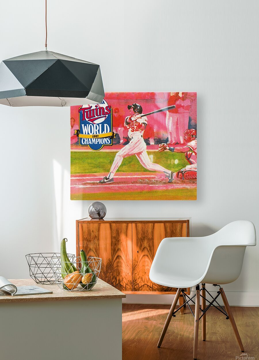 1988 Minnesota Twins Baseball Art  HD Metal print with Floating Frame on Back