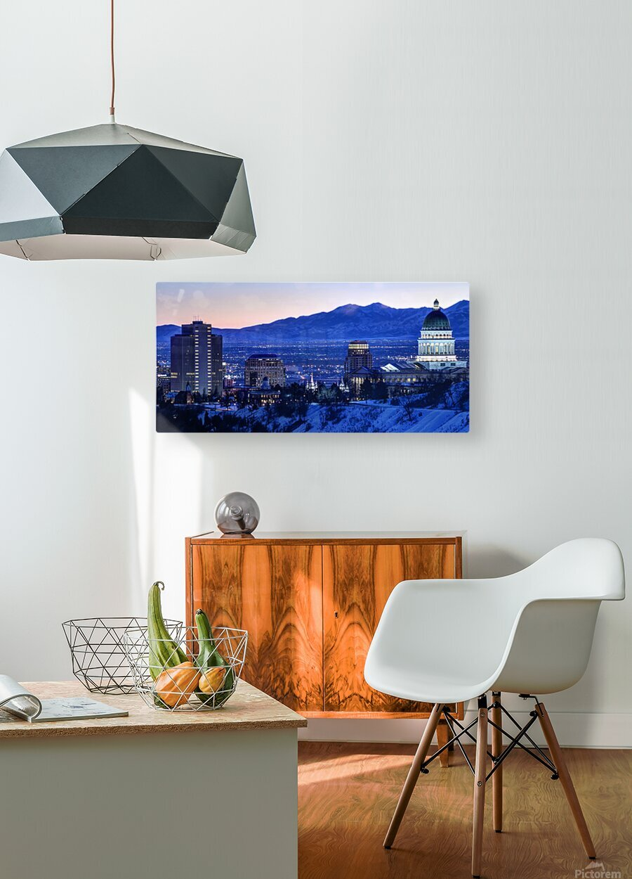 Utah State Capitol Sunset Salt Lake City Government Architecture Photography Historic Lights Night Fine Art Photo Print  Wall Decor  HD Metal print with Floating Frame on Back