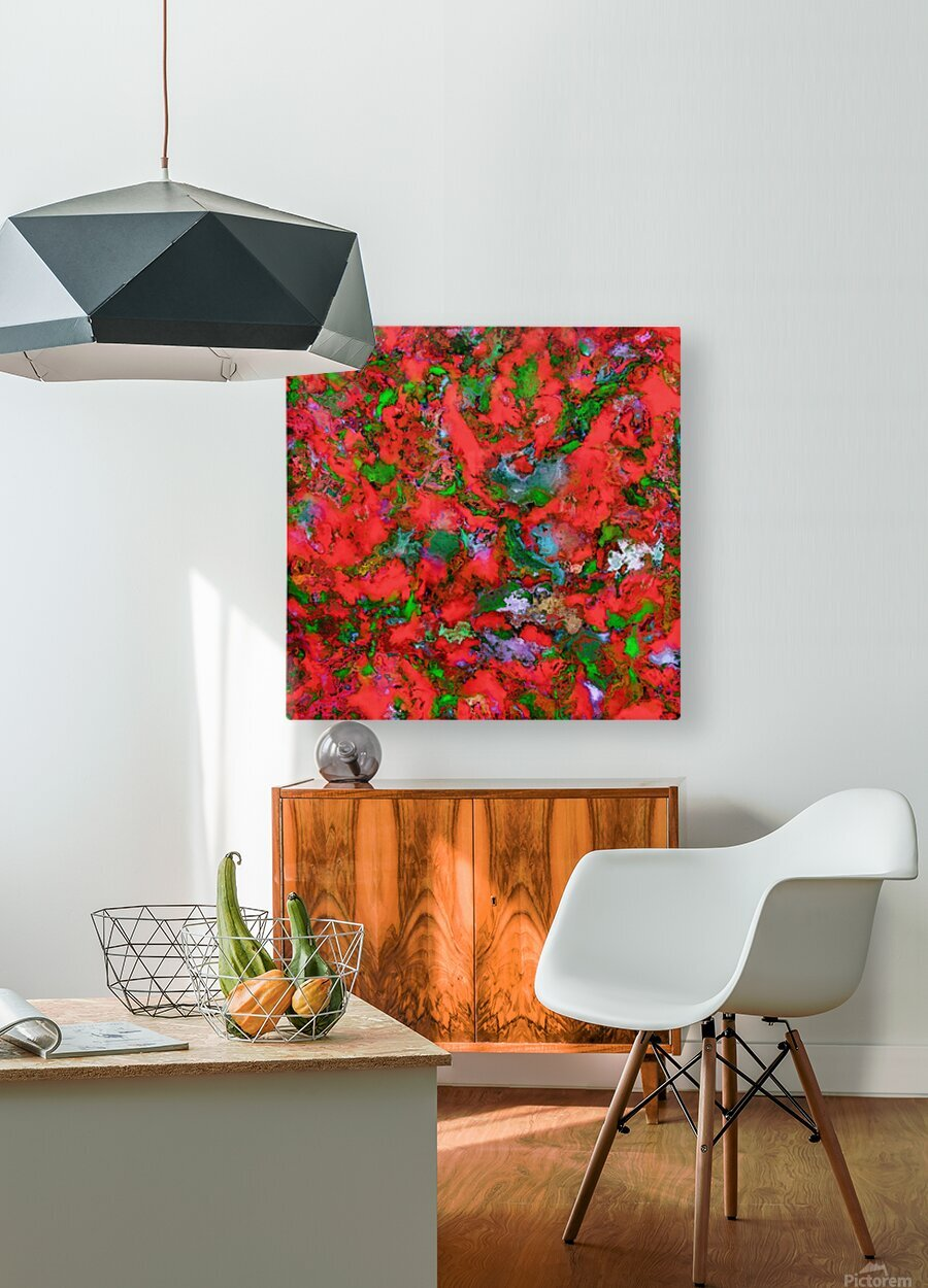 The edge of the red lake  HD Metal print with Floating Frame on Back
