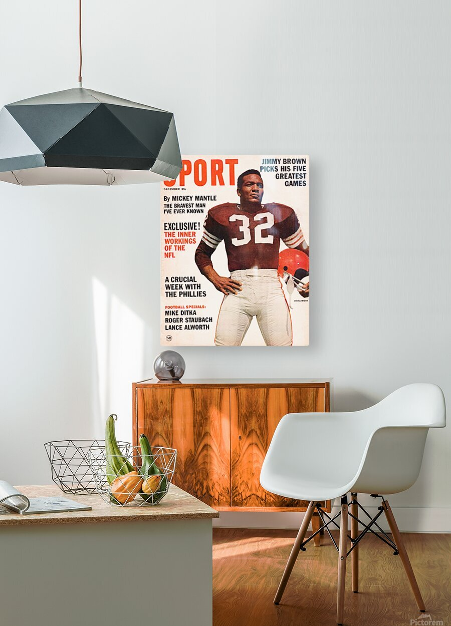 1964 Sport Magazine Jim Brown Cover Art  HD Metal print with Floating Frame on Back