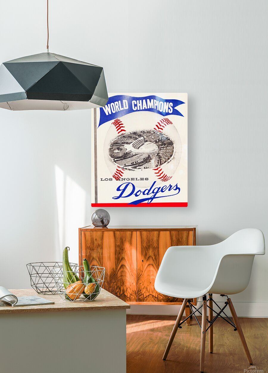 1960 Los Angeles Dodgers Baseball Art  HD Metal print with Floating Frame on Back