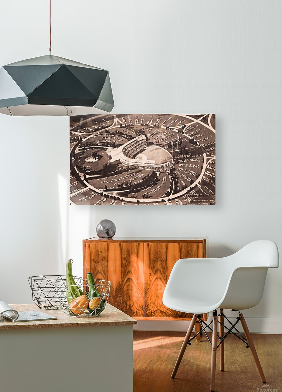 1959 Dodger Stadium Architecture Drawing  HD Metal print with Floating Frame on Back