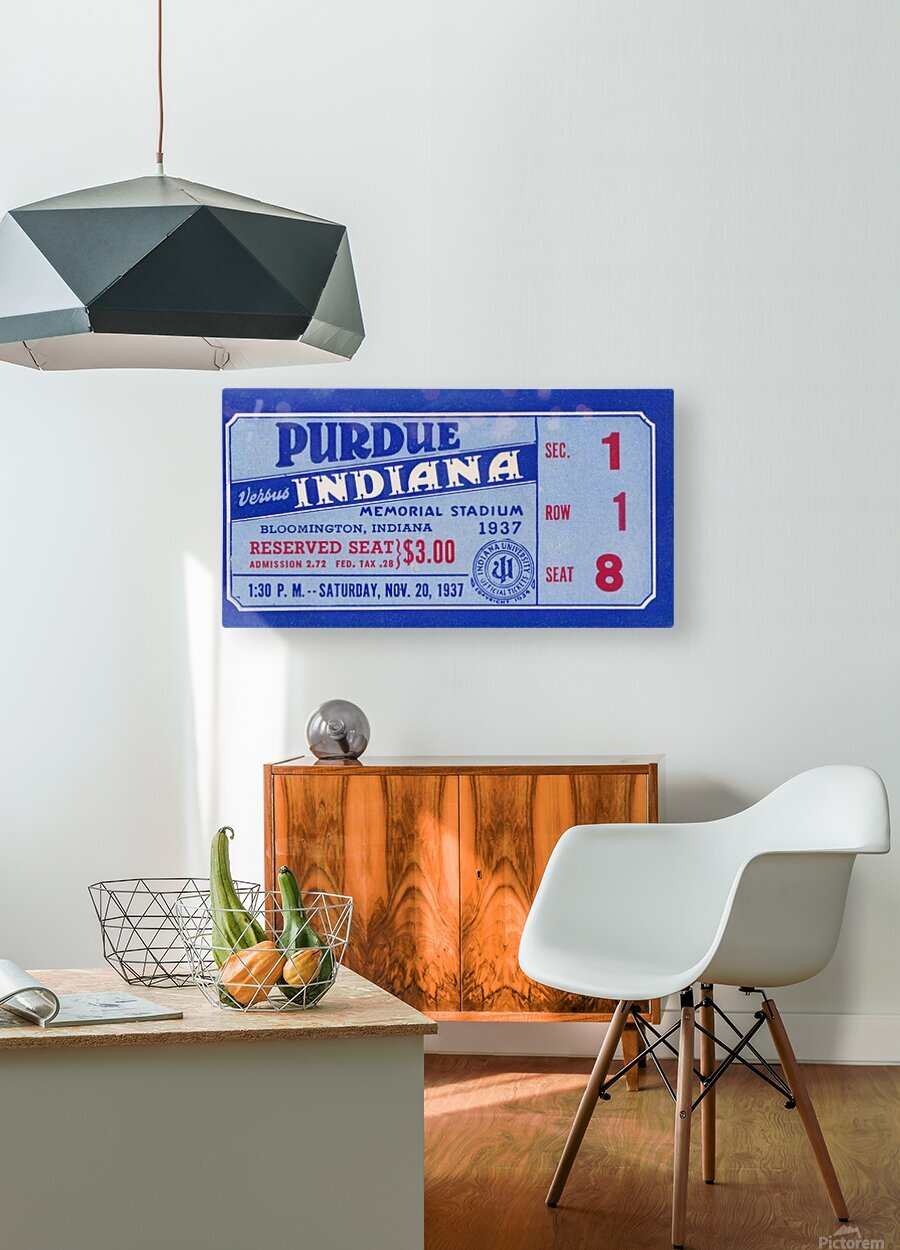 1937 Indiana vs. Purdue Ticket Stub Art  HD Metal print with Floating Frame on Back
