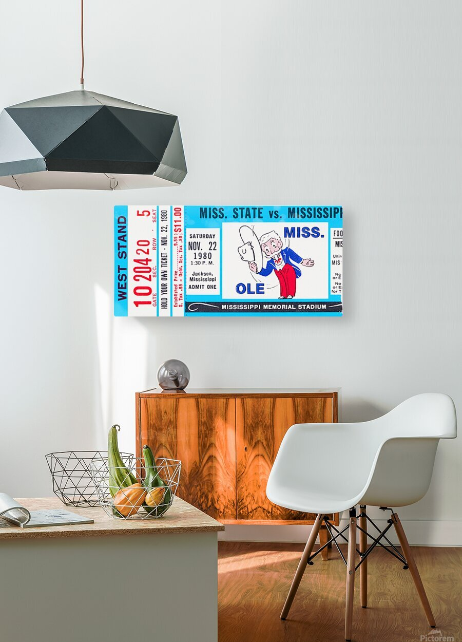 1980 Ole Miss vs. Miss State Football Ticket Stub Art  HD Metal print with Floating Frame on Back