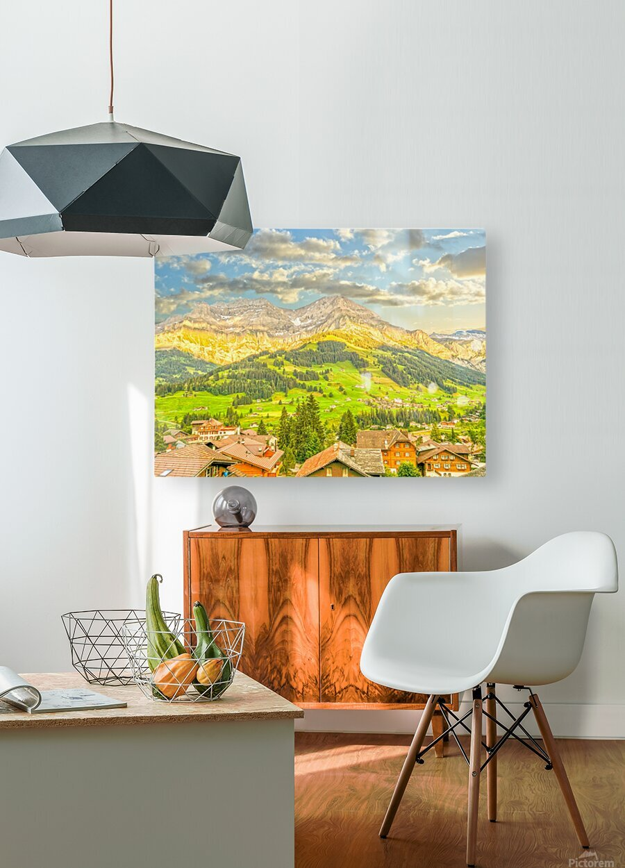 Golden Rays in the Mountains Alpine Village Switzerland  HD Metal print with Floating Frame on Back