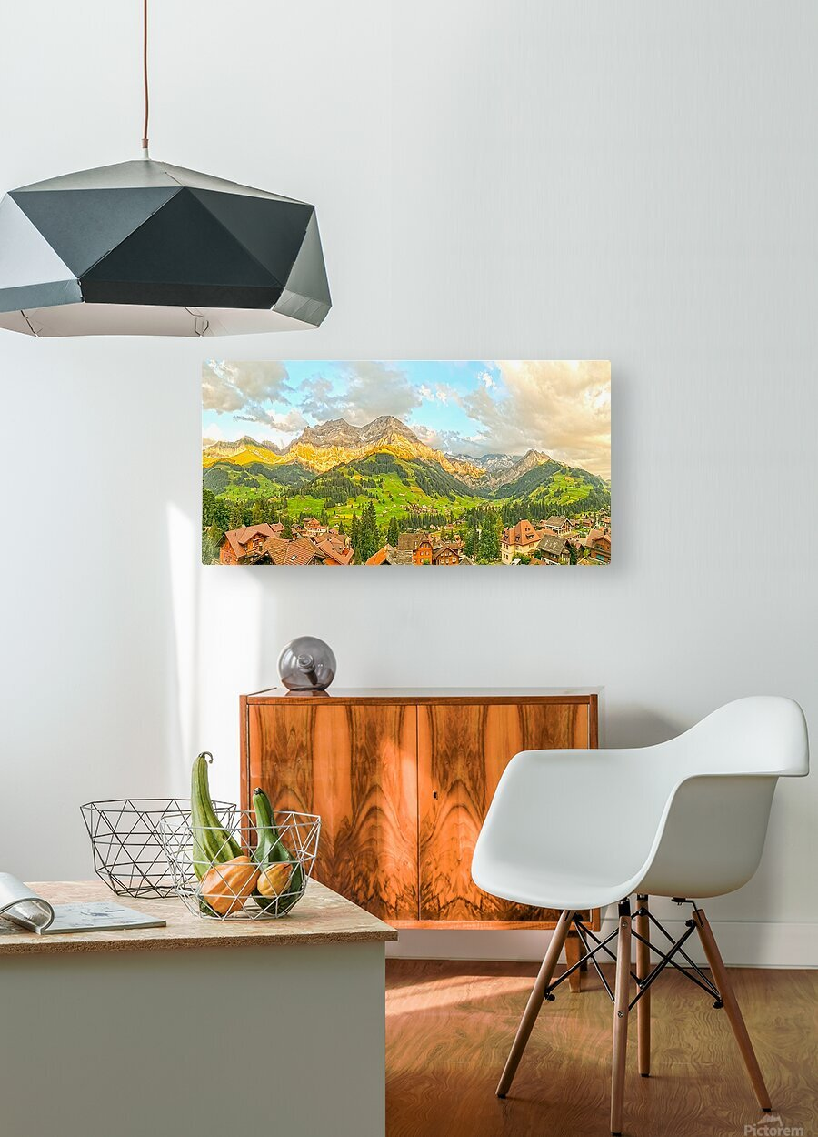 Golden Rays Across The Bernese Highlands in Switzerland Panorama with Engstligen Falls  HD Metal print with Floating Frame on Back