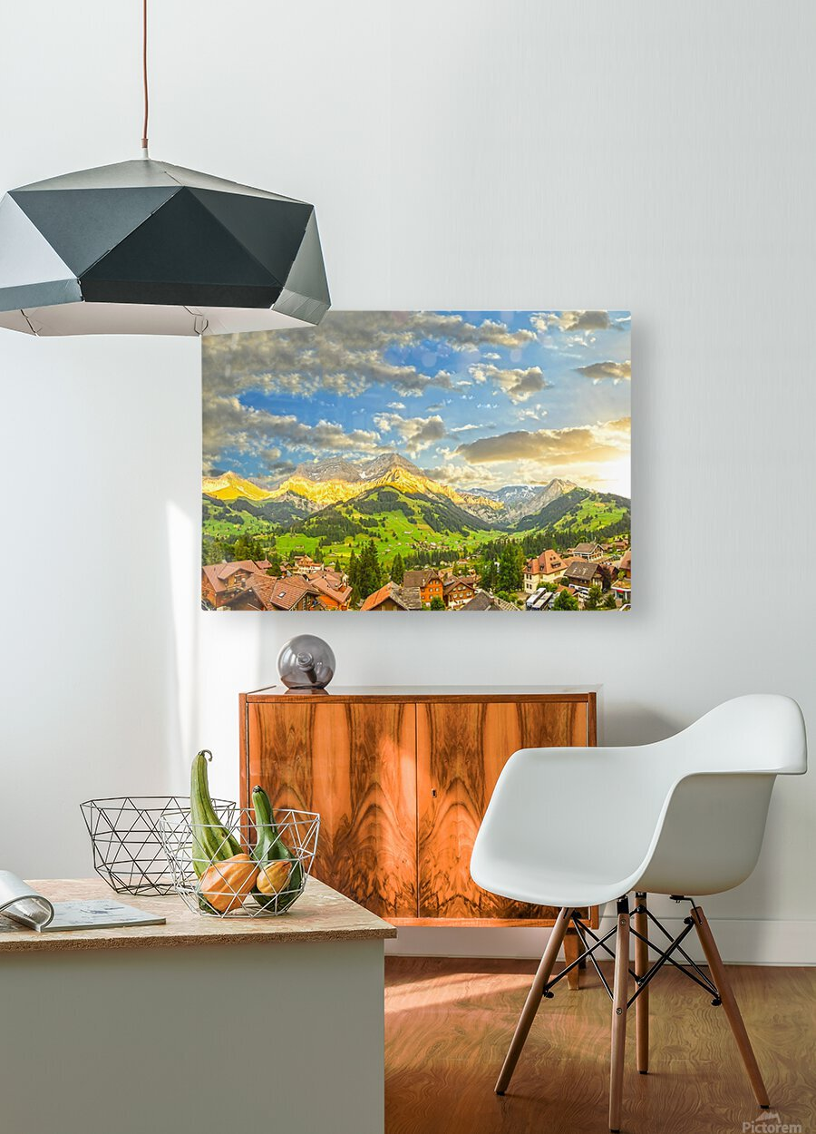 Golden Rays Across The Swiss Alps with Waterfalls  HD Metal print with Floating Frame on Back